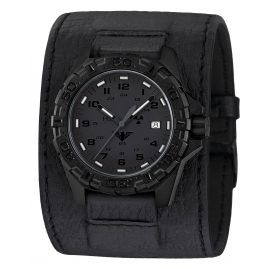 KHS REXT.LK Mens Watch Reaper XTAC with Leather Strap Power-Band Black