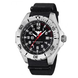 KHS LANS.NB Mens Watch Landleader Steel with Nato Strap Black