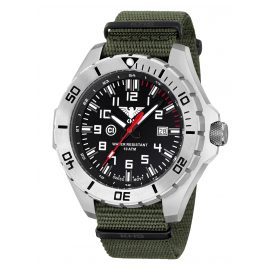 KHS LANS.NO Mens Watch Landleader Steel with Nato Band Olive