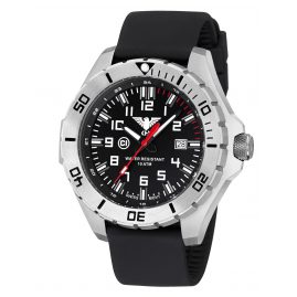 KHS LANS.SB Mens Watch Landleader Steel with Silicone Strap Black