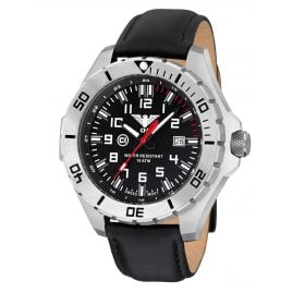 KHS LANS.L Mens Watch Landleader Steel with Leather Strap