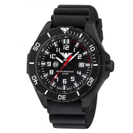 KHS LANBS.DB Mens Watch Landleader Black Steel with Diver Band