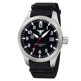 KHS AIRS.NB Mens Watch Airleader Steel with Nato Band Black