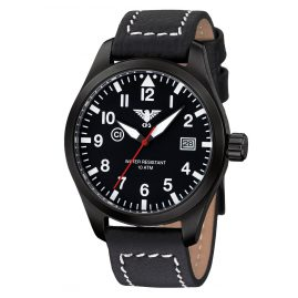 KHS AIRBS.LBB Mens Watch Airleader Black Steel Buffalo Leather Strap
