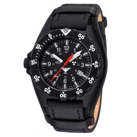 KHS SH.R Mens Watch Shooter Leather Strap G-Pad Black