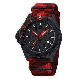KHS SHRED.NC4 Herrenuhr mit Camo Natoband Shooter Red