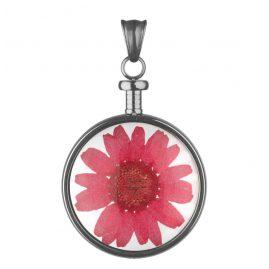 Blumenkind BL01MGRRE Kettenanhänger Blume Grau/Rot