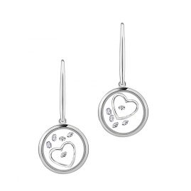 Astra E5250-CZ Ladies Drop Earrings Open Heart