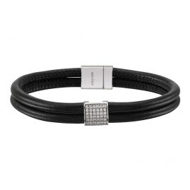 Sif Jakobs Jewellery SJ-BR2899W-BL/CZ Leather Bracelet Modena Quadrato Black