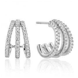 Sif Jakobs Jewellery SJ-E1068-CZ Damencreolen Ozieri Tre Piccolo Silber