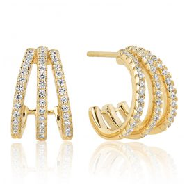 Sif Jakobs Jewellery SJ-E1068-CZ(YG) Silver Ladies´ Hoop Earrings Ozieri Tre Piccolo Gold-P