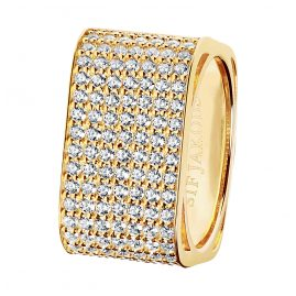 Sif Jakobs Jewellery SJ-R1066-CZ(YG) Ladies' Ring Matera Grande Gold-Plated Silver