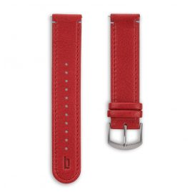 Lilienthal Berlin B005AZ Leather Strap dark red/silver