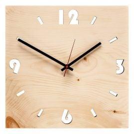Huamet U4000 Wood Wall Clock Pine Square