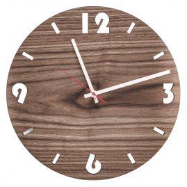 Huamet U1001 Wood Wall Clock Walnut Round