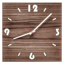 Huamet U1000 Wood Wall Clock Walnut Square