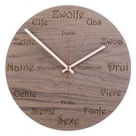 Huamet U1101 Holz-Wanduhr Nuss Dialekt Rund