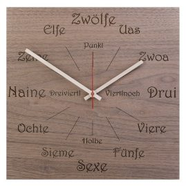 Huamet U1100 Wood Wall Clock Nut Dialect Square