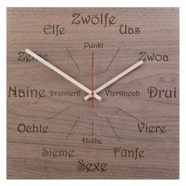 Huamet U1100 Holz-Wanduhr Nuss Dialekt Eckig