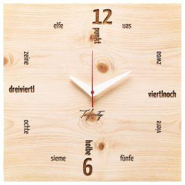 Huamet CA41-C-01 Wanduhr Kultuhr Dialekt Zirbenholz