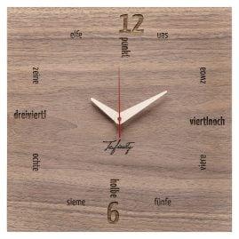 Huamet CA11-B-01 Wanduhr Kultuhr Dialekt Nussholz