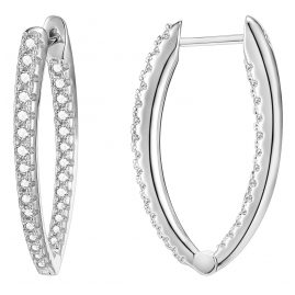 IUN Silver Couture AE007-WW Earrings Silver 925 Cubic Zirconia 30 mm
