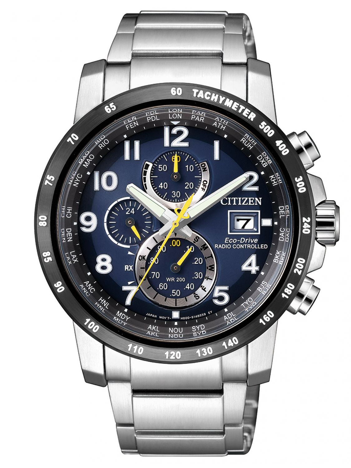 citizen eco drive chronograph herren funkuhr at8124 91l. Black Bedroom Furniture Sets. Home Design Ideas