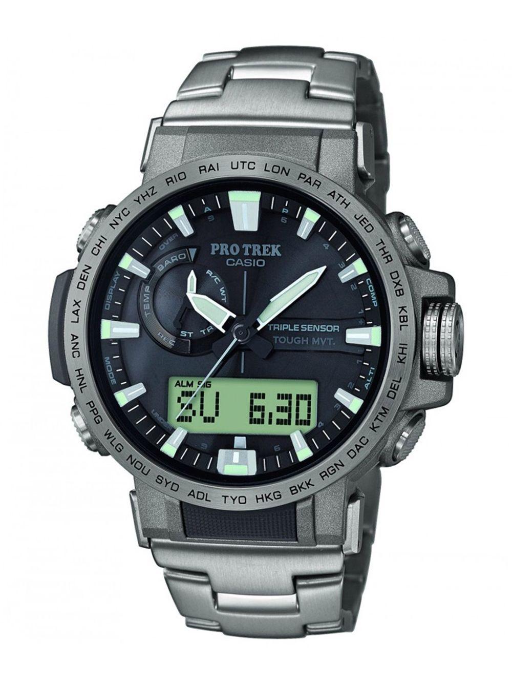 Casio PRW-60T-7AER Pro Trek Outdoor Watch Titanium Pale Rosse Image 1 ... 9a849f5f1267