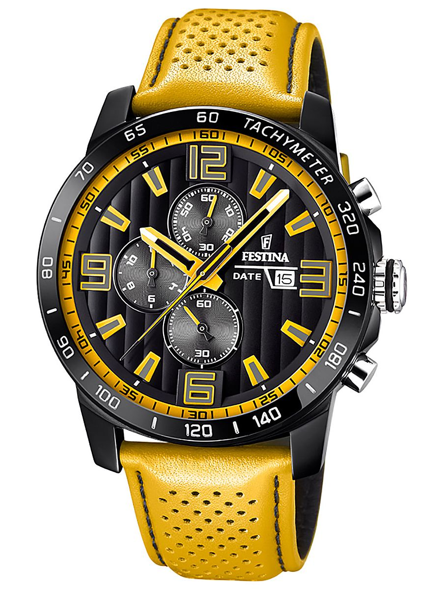 1416ac716 Festina F20339/3 Mens Watch Chronograph Leather Strap Yellow Image 1 ...