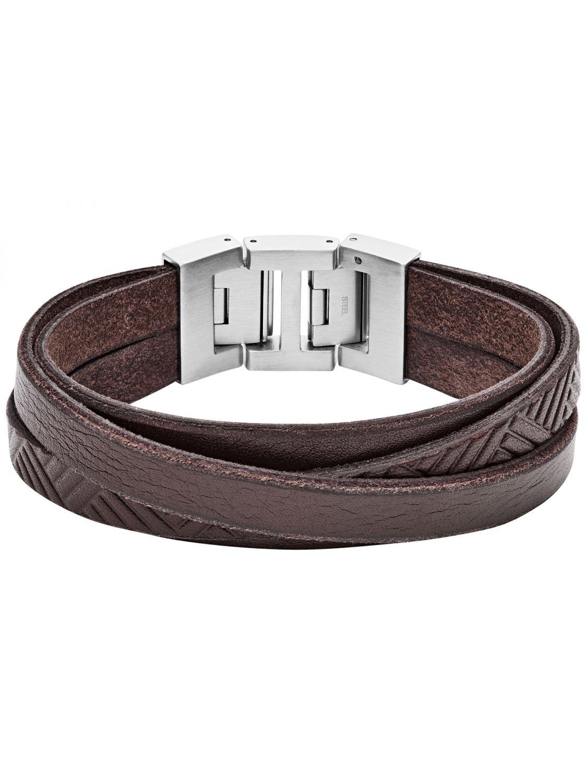 0a332e4c5 FOSSIL Men's Leather Bracelet Vintage Casual Brown JF02999040