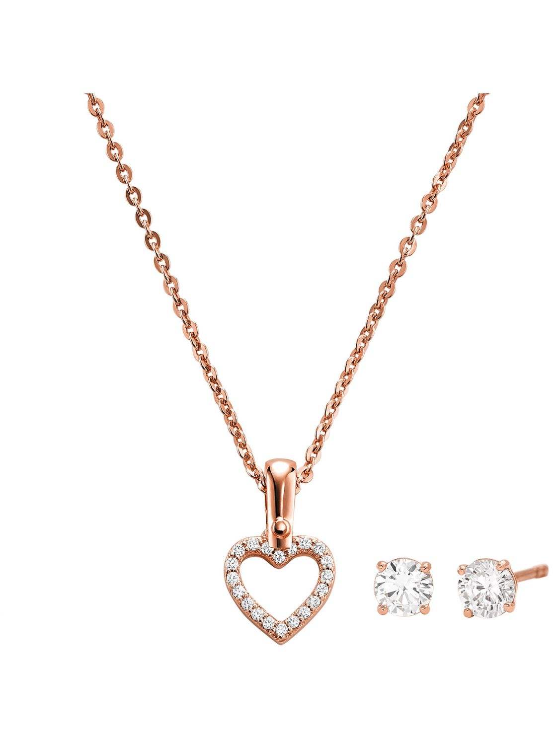 775936ae20a819 Michael Kors MKC1130AN791 Jewellery Set Necklace and Earrings Heart Image 1  ...