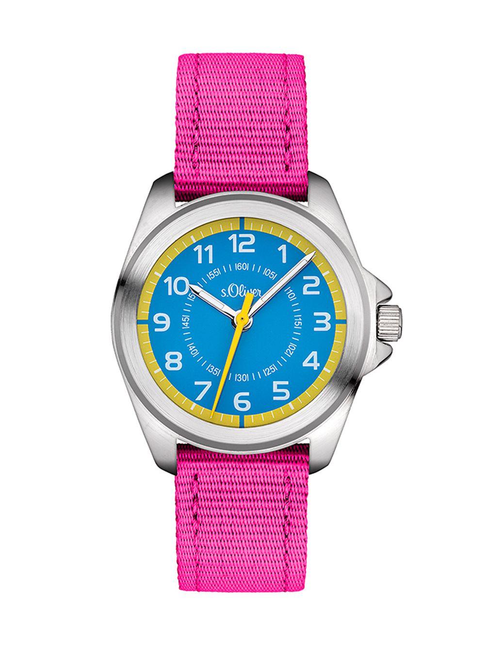 228f7e693af3c9 S.OLIVER Kids Watch for Girls Pink Blue SO-3227-LQ • uhrcenter