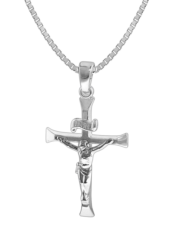 c5374fbd474e trendor 35852 Silber-Herrenkette mit Kreuz-Anhänger Bild 1 ...