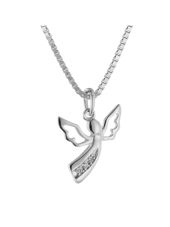 trendor 08843 Engel Anhänger Weißgold 585 mit 3 Diamanten an Silberkette  Bild 1 ... b07f152c45