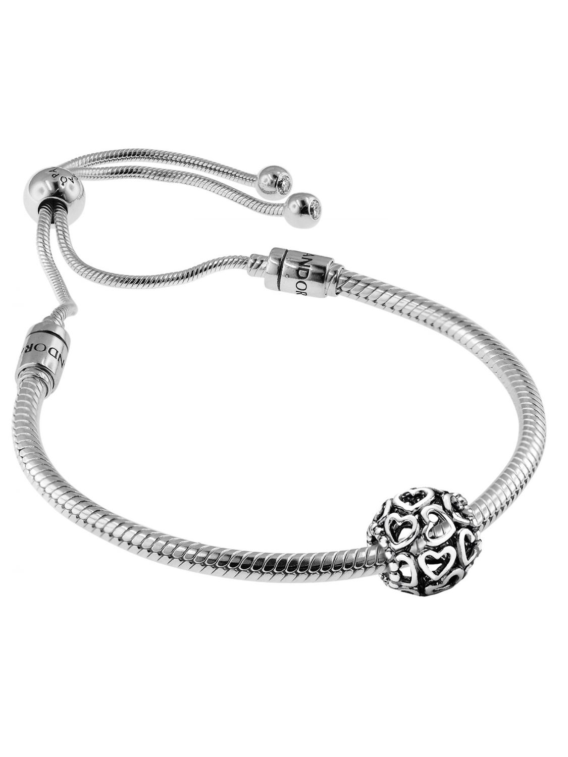 f296bba8c Pandora 08664 Bracelet Set Moments Sliding and Charm Open Your Heart Image  1 ...