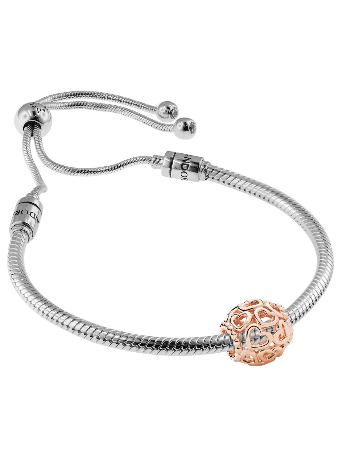884866a1e Pandora 08665 Bracelet Set Moments Sliding and Charm Open Your Heart Rose  Image 1 ...