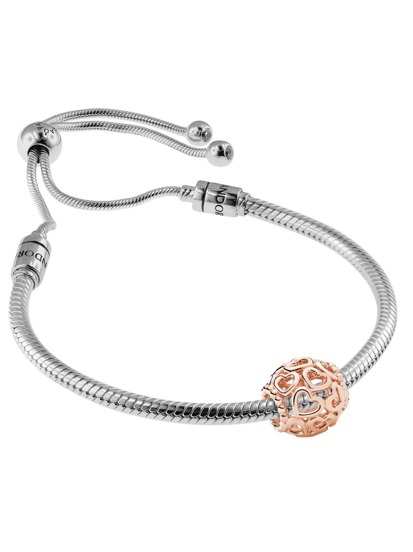 c994e4b9c Pandora 08665 Bracelet Set Moments Sliding and Charm Open Your Heart Rose  Image 1 ...
