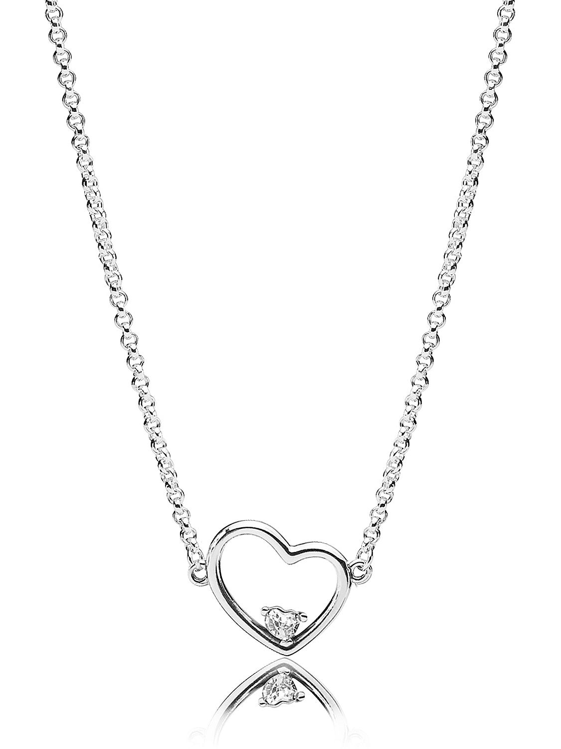 4a9cb8cec Pandora 397797CZ-45 Necklace Asymmetric Heart of Love Image 1 ...