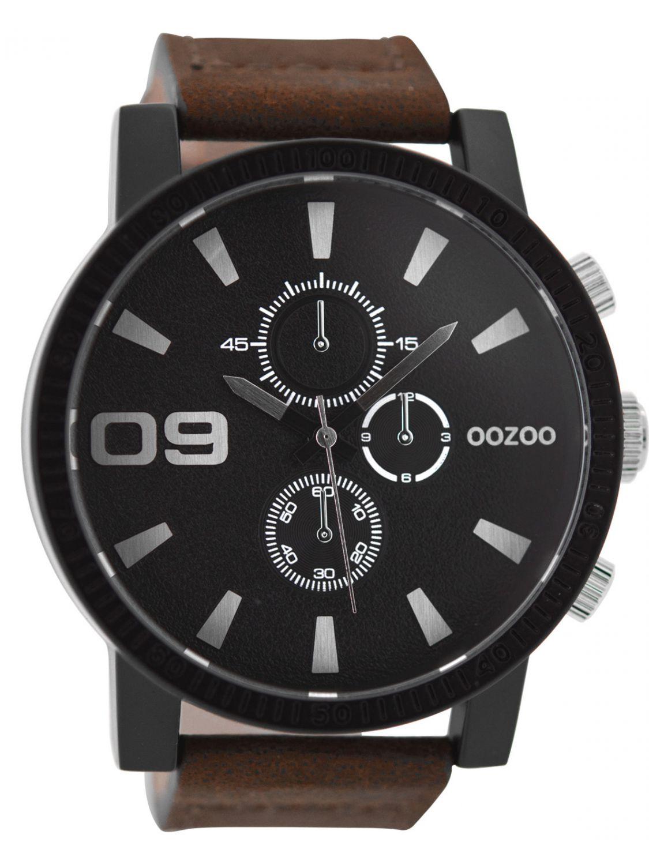 oozoo herren armbanduhr im chrono look braun schwarz 50 mm. Black Bedroom Furniture Sets. Home Design Ideas