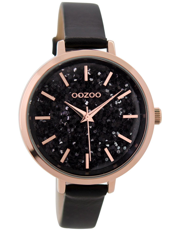 66a909473 OOZOO Ladies Watch Glitter Black 39 mm C9224 • uhrcenter