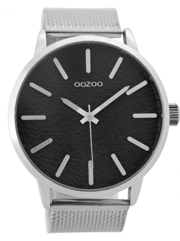 oozoo herren armbanduhr silber schwarz 49 mm c9231. Black Bedroom Furniture Sets. Home Design Ideas