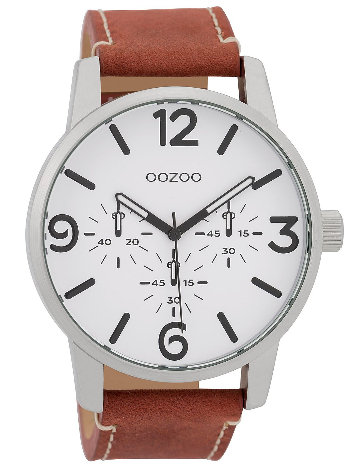 Oozoo Men s Watch with Leather Strap White Coral-Red 45 mm C9650 2941c70f59e