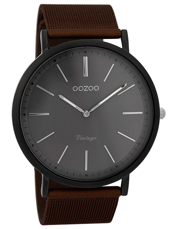 oozoo herren armbanduhr vintage schwarz braun grau 44 mm c9353. Black Bedroom Furniture Sets. Home Design Ideas