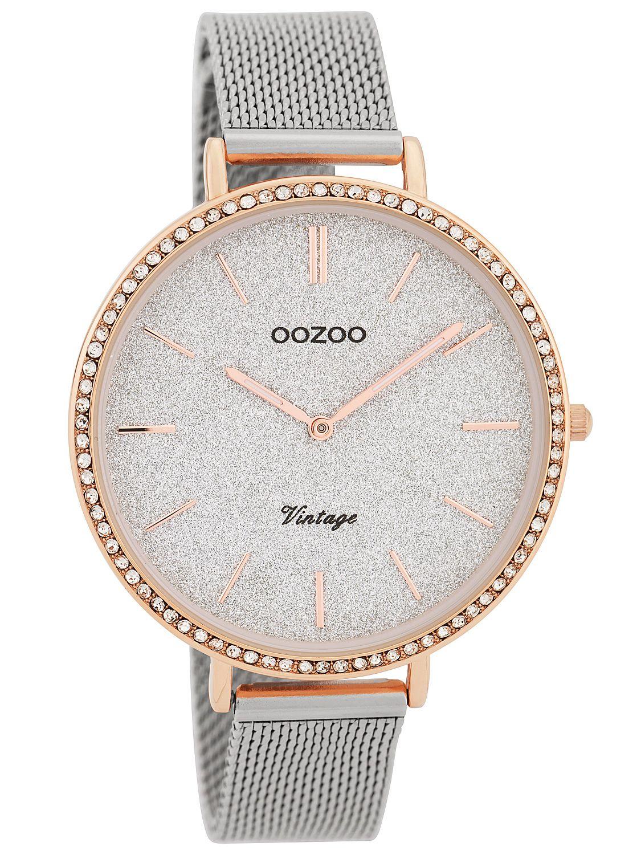 Oozoo Ladies  Watch Vintage Silver Glitter 40 mm with Mesh Bracelet ... 0bd8c501fc5