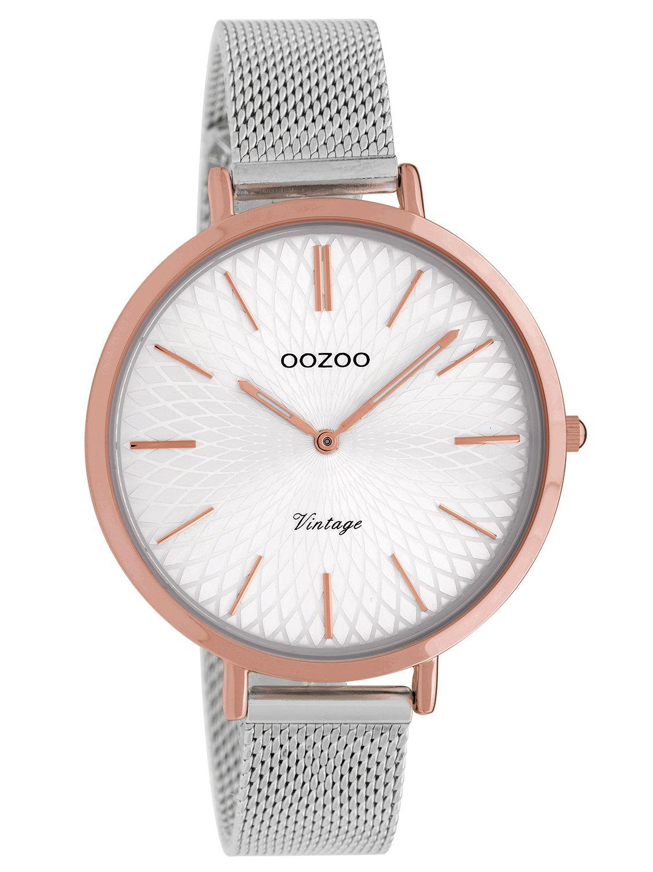 Oozoo Ladies  Watch Vintage Silver-Tone Mesh Band 40 mm C9862 4d1b26439b5