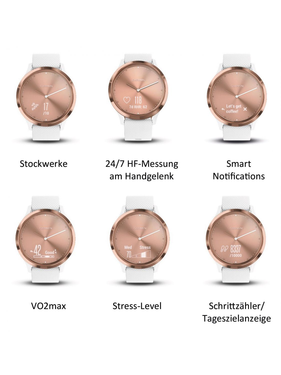 ... Garmin 010-01850-02 vivomove HR Sport Ladies  Smartwatch S M Rose ... 575ceb634e9