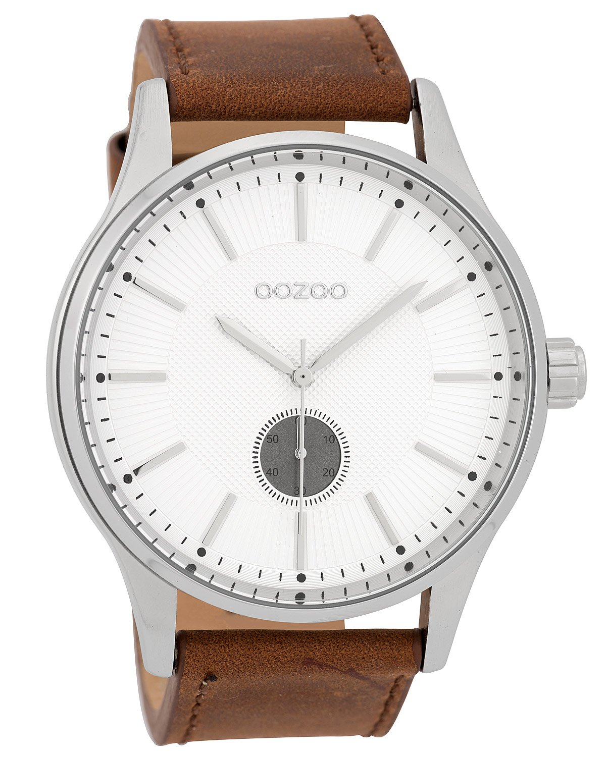 OOZOO Men s Watch Leather Strap White Brown 48 mm C9635 ac610741178