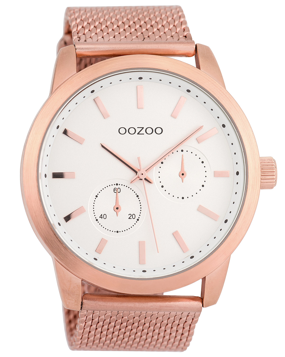 OOZOO Men s Watch with Mesh Bracelet White Rose 47 mm C9660 0581f898a14