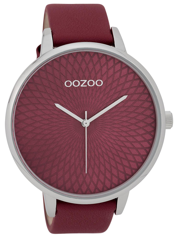 oozoo damenuhr mit design zifferblatt weinrot 48 mm c9727. Black Bedroom Furniture Sets. Home Design Ideas