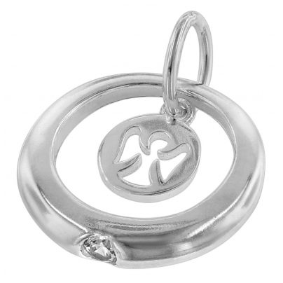 Trendor Jewellery Children 925 Silver Confirmation Ring and Little Angel 75229